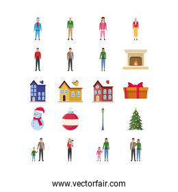 set of avatar people, traditional houses and christmas icons
