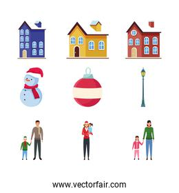set of traditional houses, people with kids, colorful design