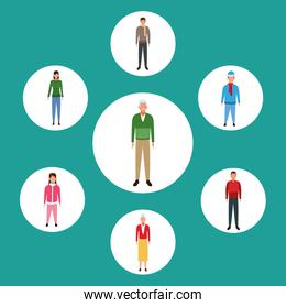 set of avatar people standing and wearing casual clothes