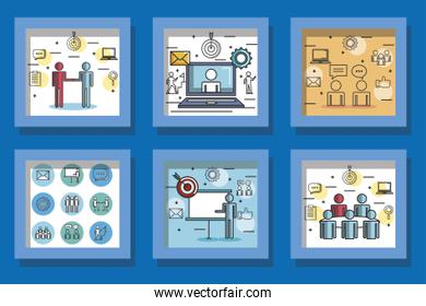 bundle of designs teamwork and icons