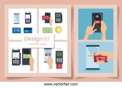 six designs of nfc technology   icons