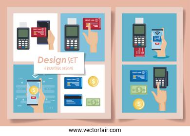 six designs of nfc technology and icons