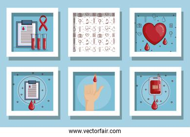 bundle of designs blood donation and icons