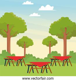 picnic tables in the park, colorful design