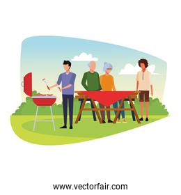 faceless avatar friends in a bbq and picnic, colorful design