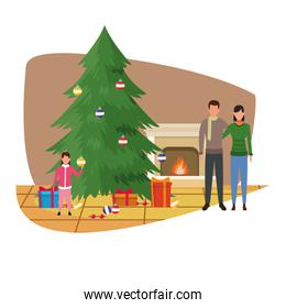 Merry christmas design with couple and girl