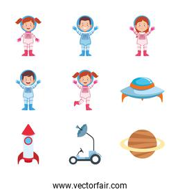 icon set of cartoon astronauts, colorful design