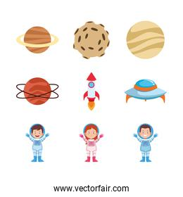 icon set of cartoon astronauts and planets, colorful design