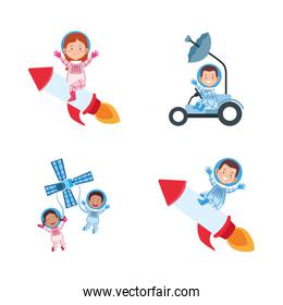icon set of cartoon astronauts on space vehicles, colorful design