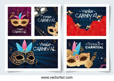 set poster of venice carnival with decoration