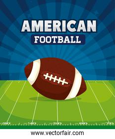 poster of american football with ball in field