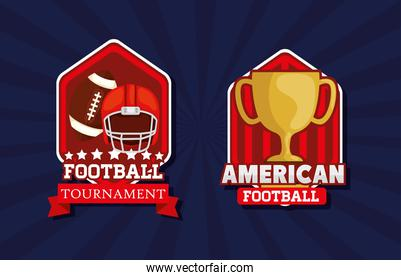 set of shields with icons of american football