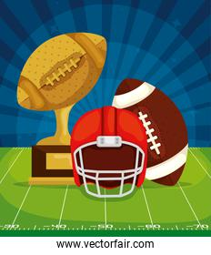 poster of trophy with ball and helmet in football field american