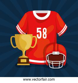 american football shirt with trophy and helmet