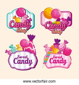 set stamps of delicious candies