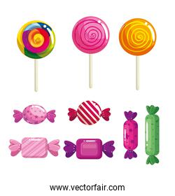 set of delicious sweet candies
