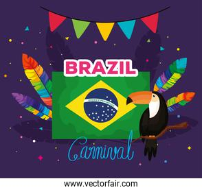 poster of brazil carnival with flag and decoration