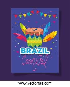 poster of brazil carnival with drum and decoration