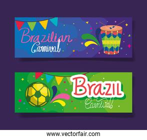 set of poster brazil carnival with decoration