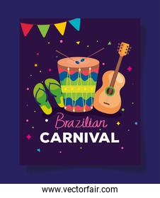 poster of brazilian carnival with drum and decoration