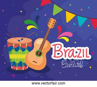 poster of brazil carnival with guitar and drum
