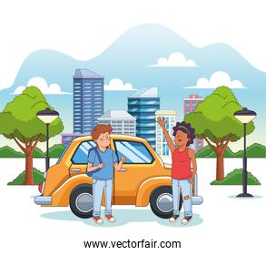 cartoon teen girl and boy over yellow car