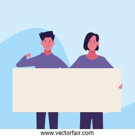 cartoon woman and man with blank placard