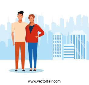 cartoon young couple standing, colorful design