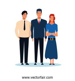 cartoon women and man standing, colorful design