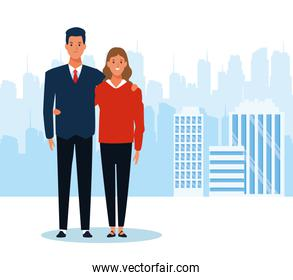 cartoon businessman and his wife standing