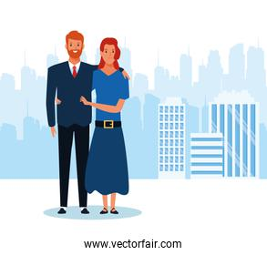 businessman and his wife standing