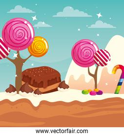 candy land with brownie and caramels