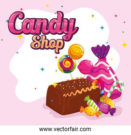 poster of candy shop with chocolate cake and candies