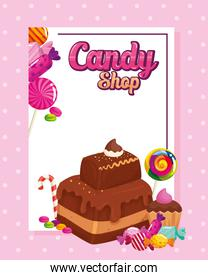 poster of candy shop with brownie and candies
