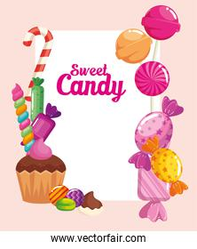 poster of candy shop with cupcake and candies