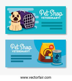 set poster of pet shop veterinary with little dog and icons