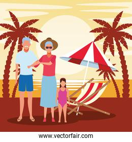 avatar old couple and little girl wearing swimsuit at the beach