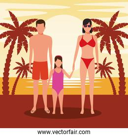 avatar young couple and girl wearing swimsuit