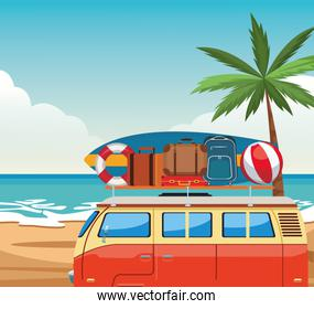 Beach colorful design with travel van