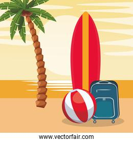 beach colorful design with surfboard with ball and suitcase