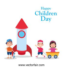 Happy children day design with cartoon kids and space rocket