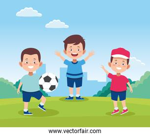 cartoon happy boys playing with a soccer ball