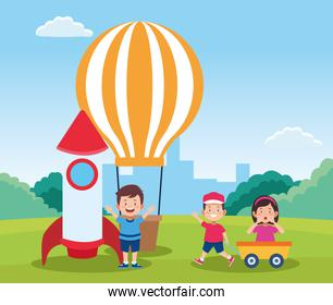hot air balloon and space rocket with cartoon happy kids