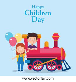 Happy children day colorful design with happy boy in a train and girl with colorful balloons