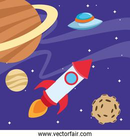 space rocket and flying saucer in the space around the planets