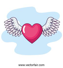 cute heart with wings icon