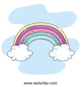 cute rainbow with clouds and stars decoration