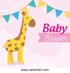 baby shower card with giraffe and garlands hanging