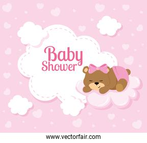 baby shower card with cute bear and clouds