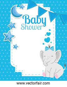baby shower card with cute elephant and decoration